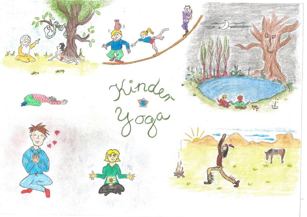 Ein selbstgemaltes Bild zum Thema Kinder-Yoga, Kinder in unterschiedlichen Yoga Haltungen