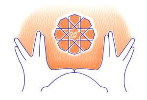 das Sat Nam Rasayan Logo: das Mudra (Handhaltung) der Kontrolle der Elemente; der stilisierte Diamant symbolisiert die Klarheit des Geistes, dadrin der Schriftzug Ek Ong Kar, was heißt: Schöpfer und Schöpfung sind Eins.